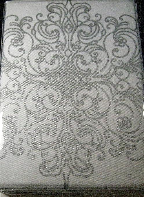 Silver Baroque Scroll Cloth Dinner Napkins Set of 4
