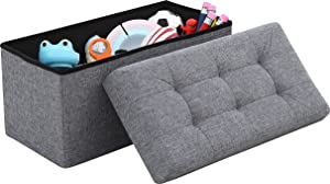 "Ornavo Home Foldable Tufted Linen Large Storage Ottoman Bench Foot Rest Stool/Seat - 15"" x 30"" x 15"" (Grey)"