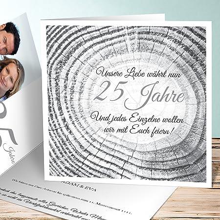 Einladung Silberhochzeit Gestalten Baumringe 100 Karten