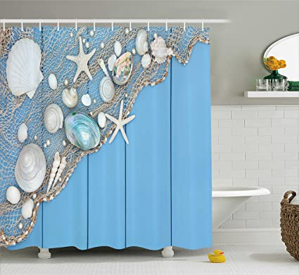 Ambesonne Tropical Shower Curtain By Seashells On A Fishing Net Wooden Blue Background Pearls Scallop