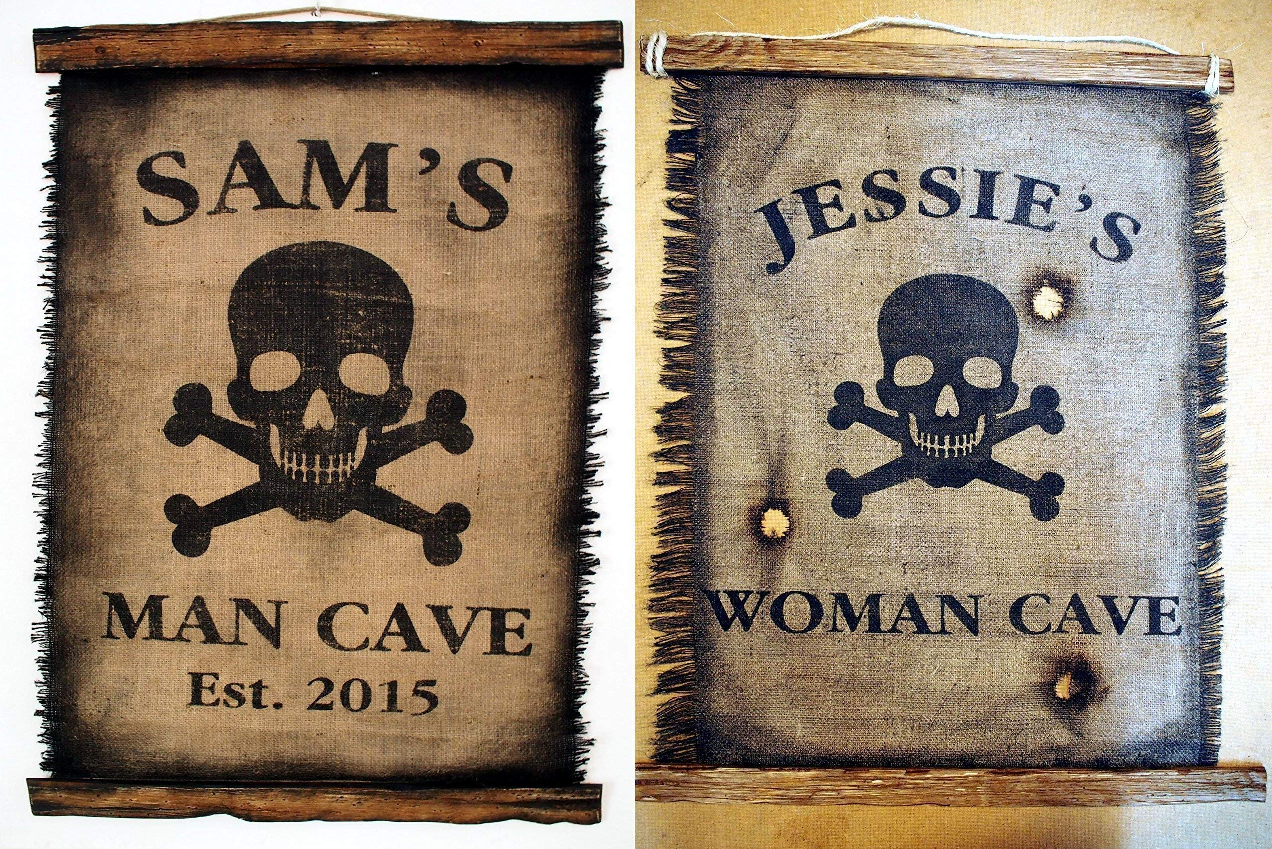 Custom Flag wall decor made of worn out burlap and wood | Rustic Decor | Pirate flag Wall art | Personalized Gift | Man Cave, Home Bar, Boys Room by Woodcraft City (Image #2)