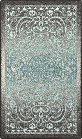 Maples Rugs Pelham Vintage Kitchen Rugs Non Skid Accent Area Carpet [Made  in USA], 1\'8 x 2\'10, Grey/Blue