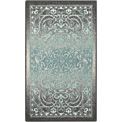 Maples Rugs Kitchen Rug Pelham 1 8 X 2 10 Non Skid Small Accent Throw Rugs Made In Usa For Entryway And Bedroom Grey Blue
