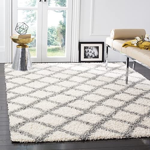 Safavieh Dallas Shag Collection SGD258F Ivory and Grey Area Rug 8 x 10