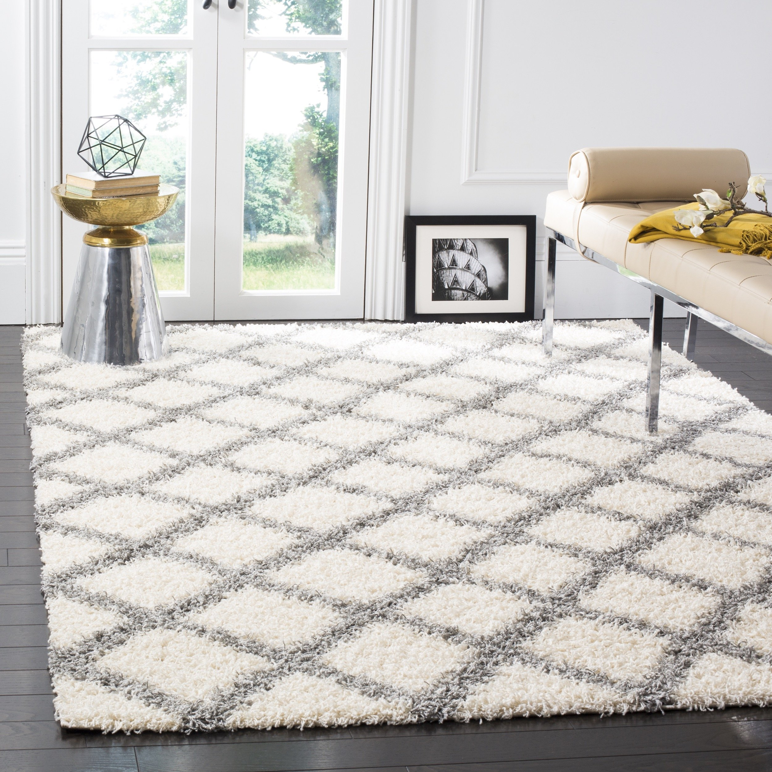 Safavieh Dallas Shag Collection SGD258F Ivory and Grey Area Rug (5'1'' x 7'6'')
