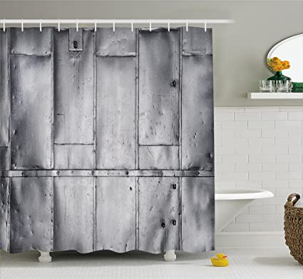 Ambesonne Industrial Shower Curtain Steel Panels Wall Theme Aluminum Background Futuristic Engineering Print