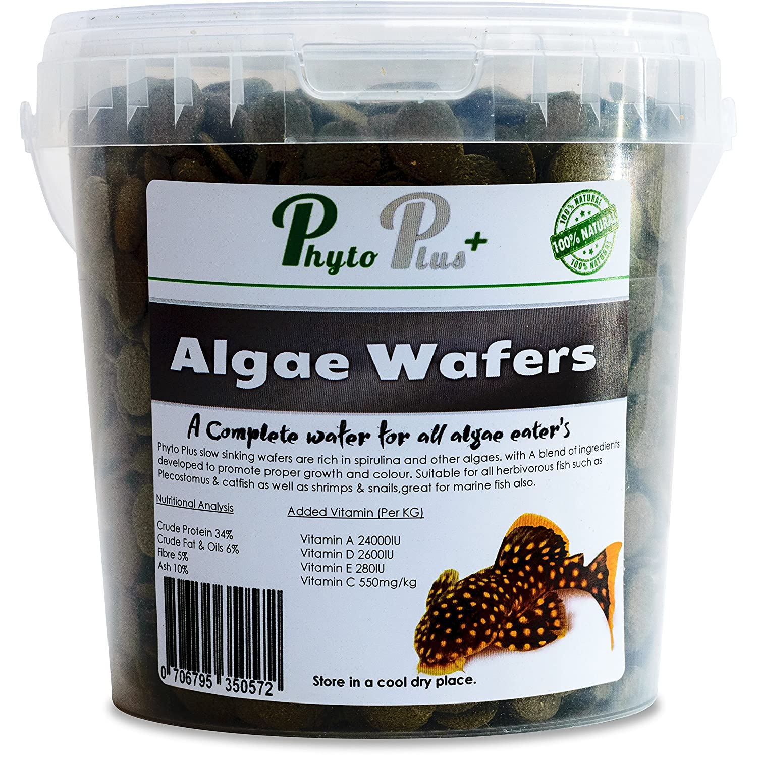 1 Litre Tub Algae wafers by Phyto Plus Spirulina, algae Tablets Bottom Feeders Catfish Pleco