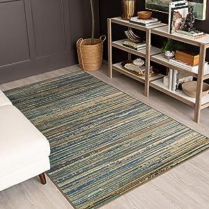 Mohawk Home Prismatic Santos Striped Printed Contemporary Area Rug, 5'x8', Blue
