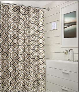 coral and brown shower curtain. natural beige black white fabric shower curtain: geometric design coral and brown curtain n