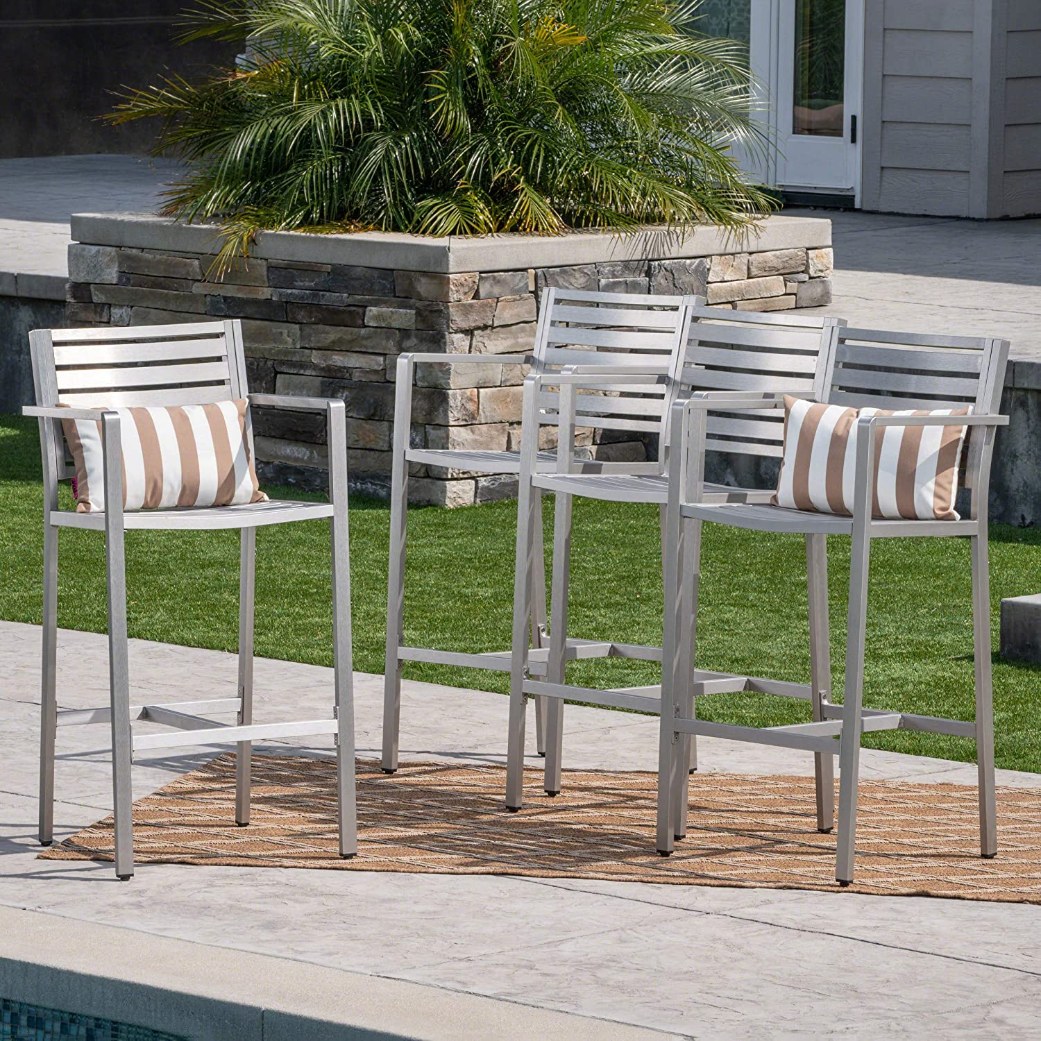 , Set of 4 Great Deal Furniture 304262 Tammy Coral Outdoor Silver Rust-Proof Aluminum 29.50 Inch Barstools