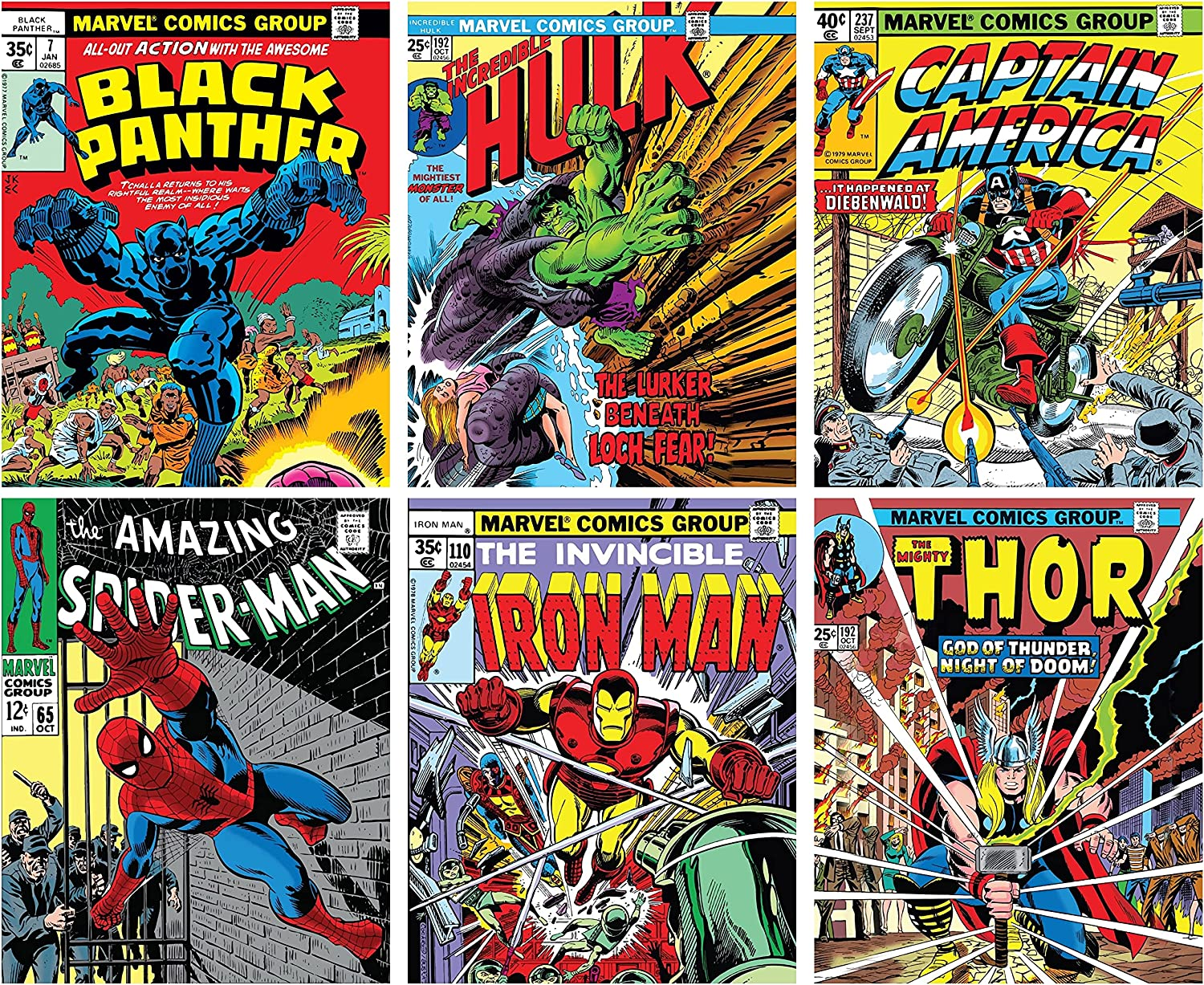 Avengers Wall Art – Superhero Vintage Comic Books Décor Unframed Set of 6 Prints, 8x10 Inch, Spiderman Hulk Captain America Thor Ironman Black Panther, Vintage Comic Book Poster for Adults Boys Bedroom
