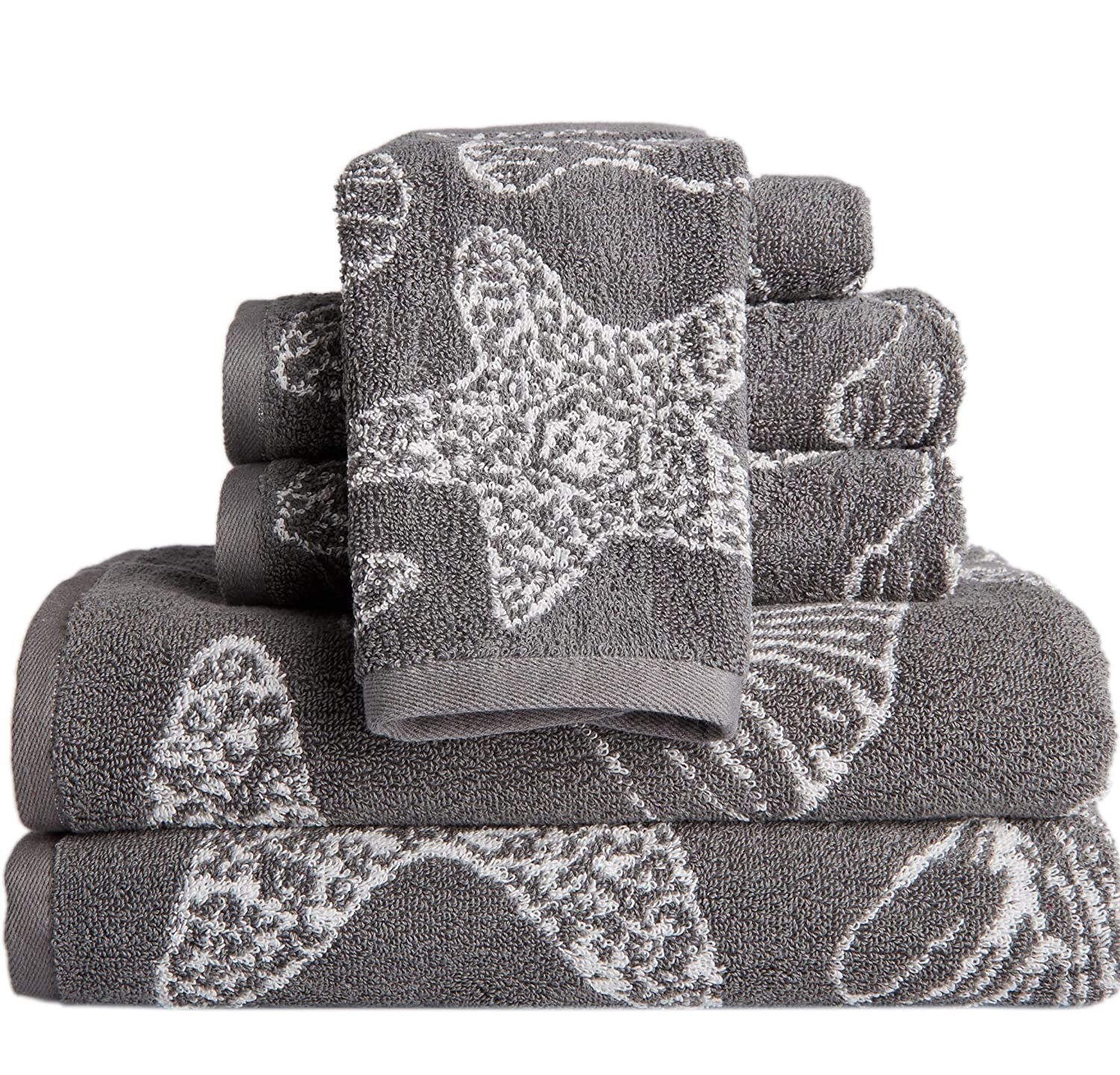 6 Piece Towel Set, Sea Shell Pattern Starfish Bath Towels