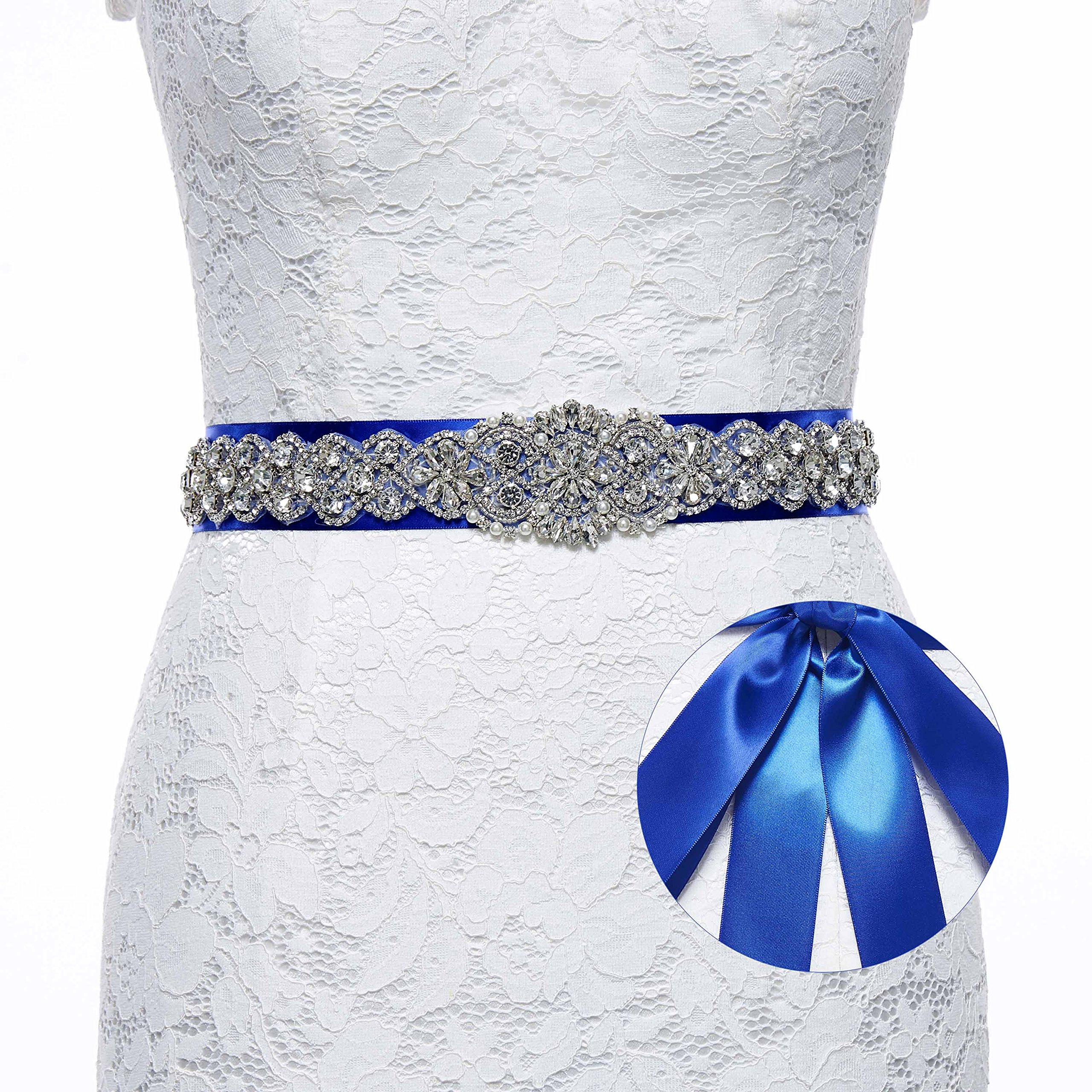 Sisjuly Pearl Rhinestones Sash Beaded Belts for Wedding Party Ball Prom Evening Dress Royal Blue