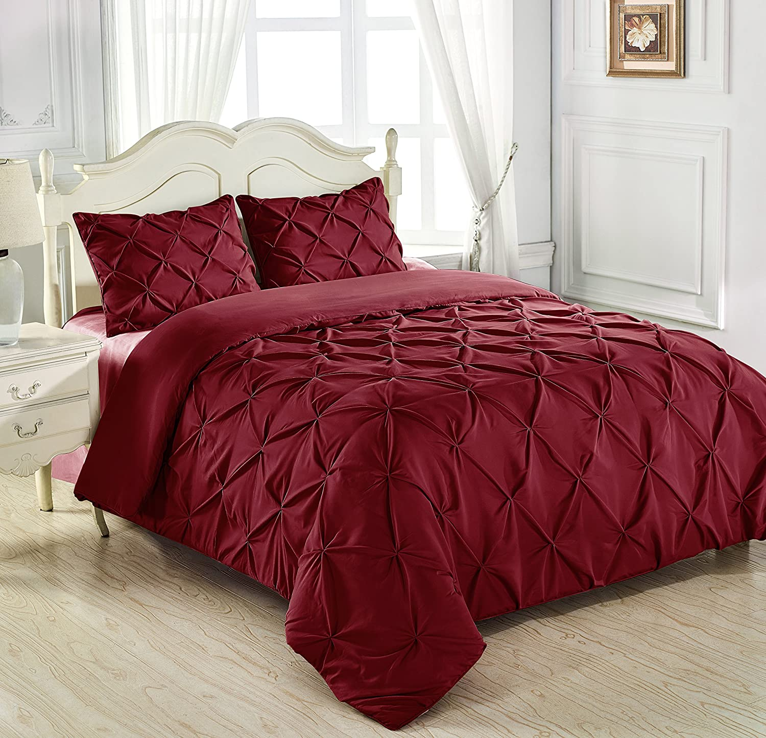 King & Queen Home 3 Piece Pinch Pleat Comforter Set in Burgundy (King
