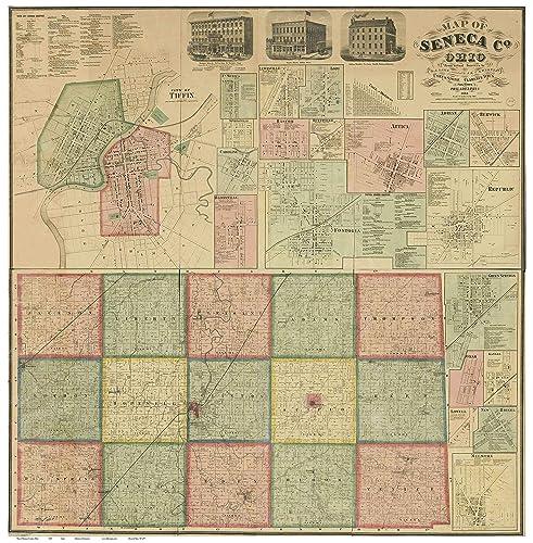Amazon Com Seneca County Ohio 1864 Wall Map With Homeowner Names
