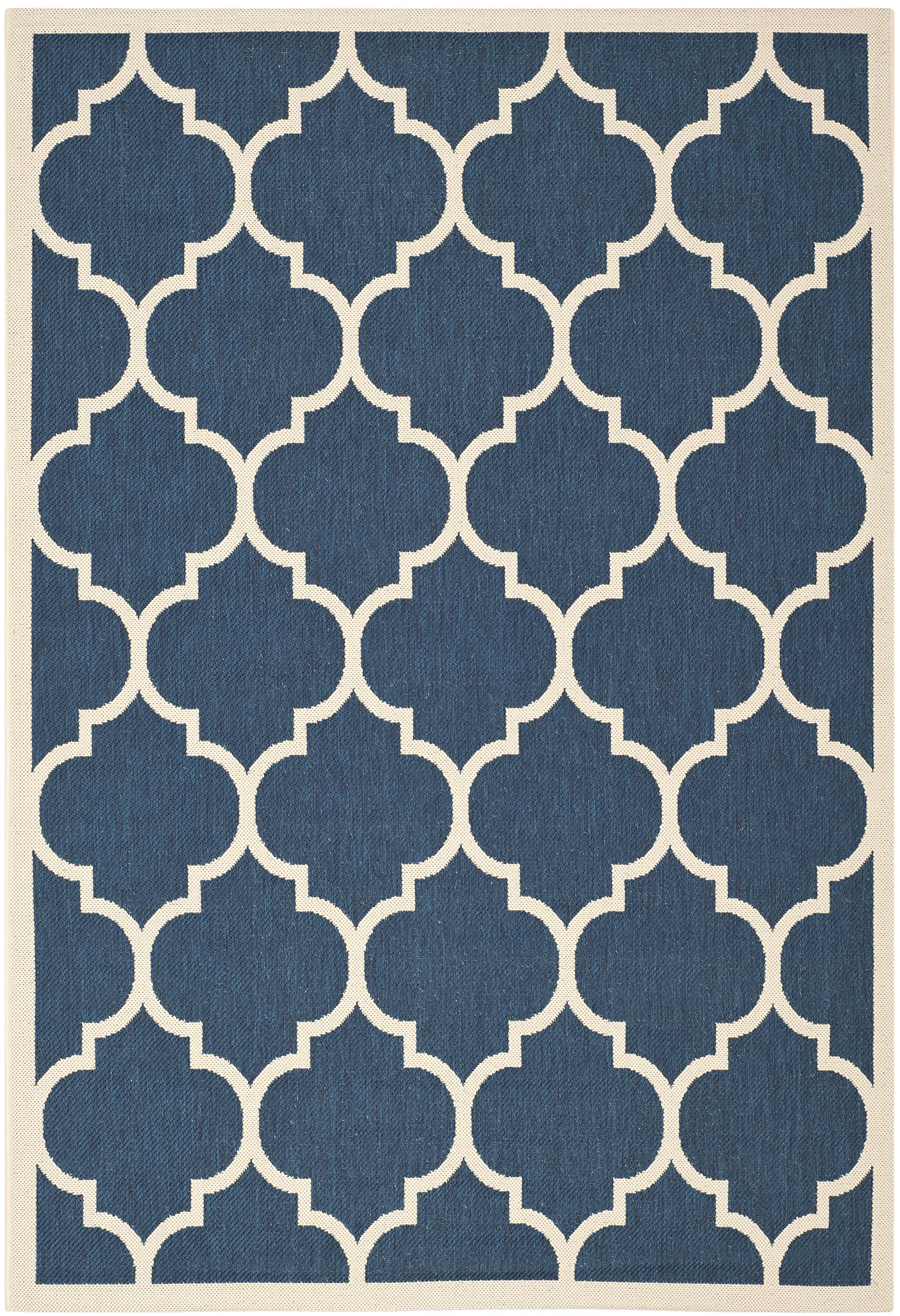 Safavieh courtyard collection cy6914 268 navy and beige indoor outdoor area rug 5