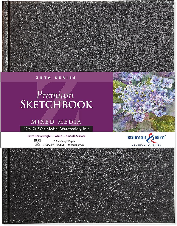 Zeta Sketchbook 5.5 x 8.5in Hardbound 270gsm Natural White Smooth Stillman /& Birn