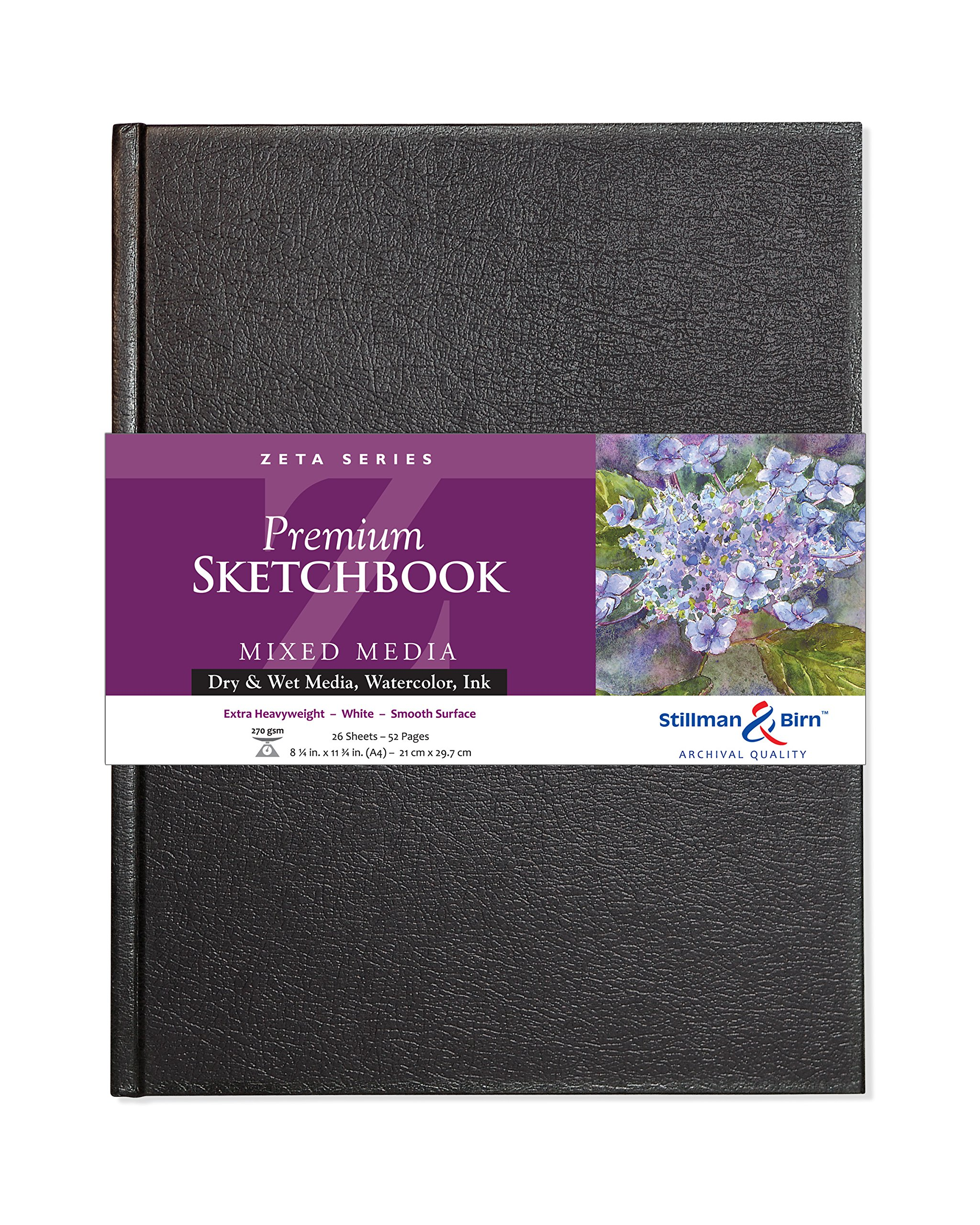 Stillman & Birn Zeta Series Hardbound Sketchbook, A4 (8.25'' x 11.75''), 270 GSM (Extra Heavyweight), White Paper, Smooth Surface by Stillman & Birn