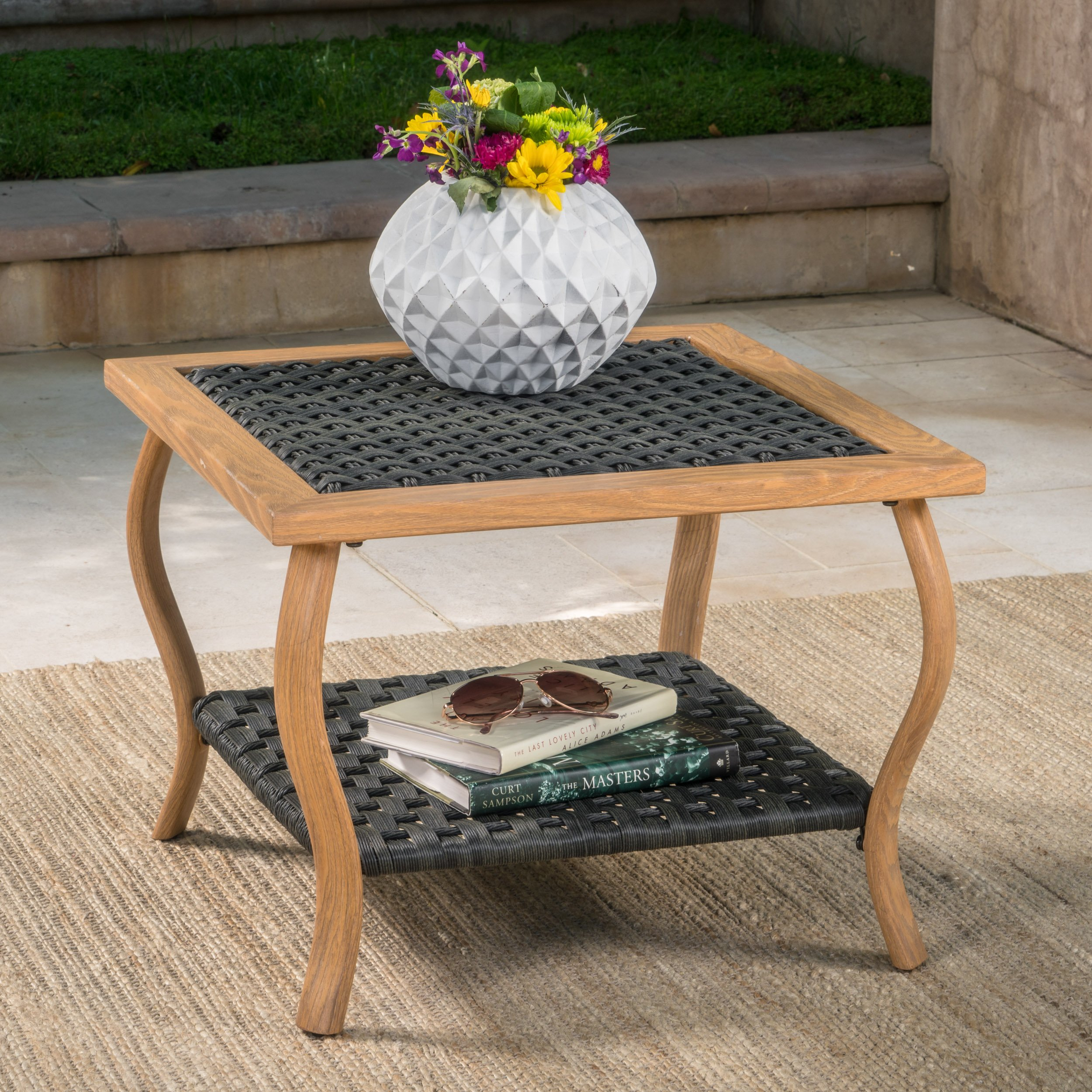 China Kitchen St Pete: Saint Pete Outdoor Grey Wicker Coffee Table With Light