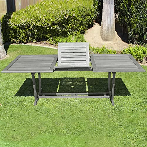 Vifah Renaissance Outdoor Patio Hand-Scraped Wood Rectangular Extension Table with Foldable Butterfly