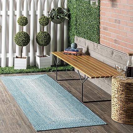 Nuloom Jayda Braided Ombre Indoor Outdoor Runner Rug 2 6 X 8 Blue Amazon Co Uk Kitchen Home