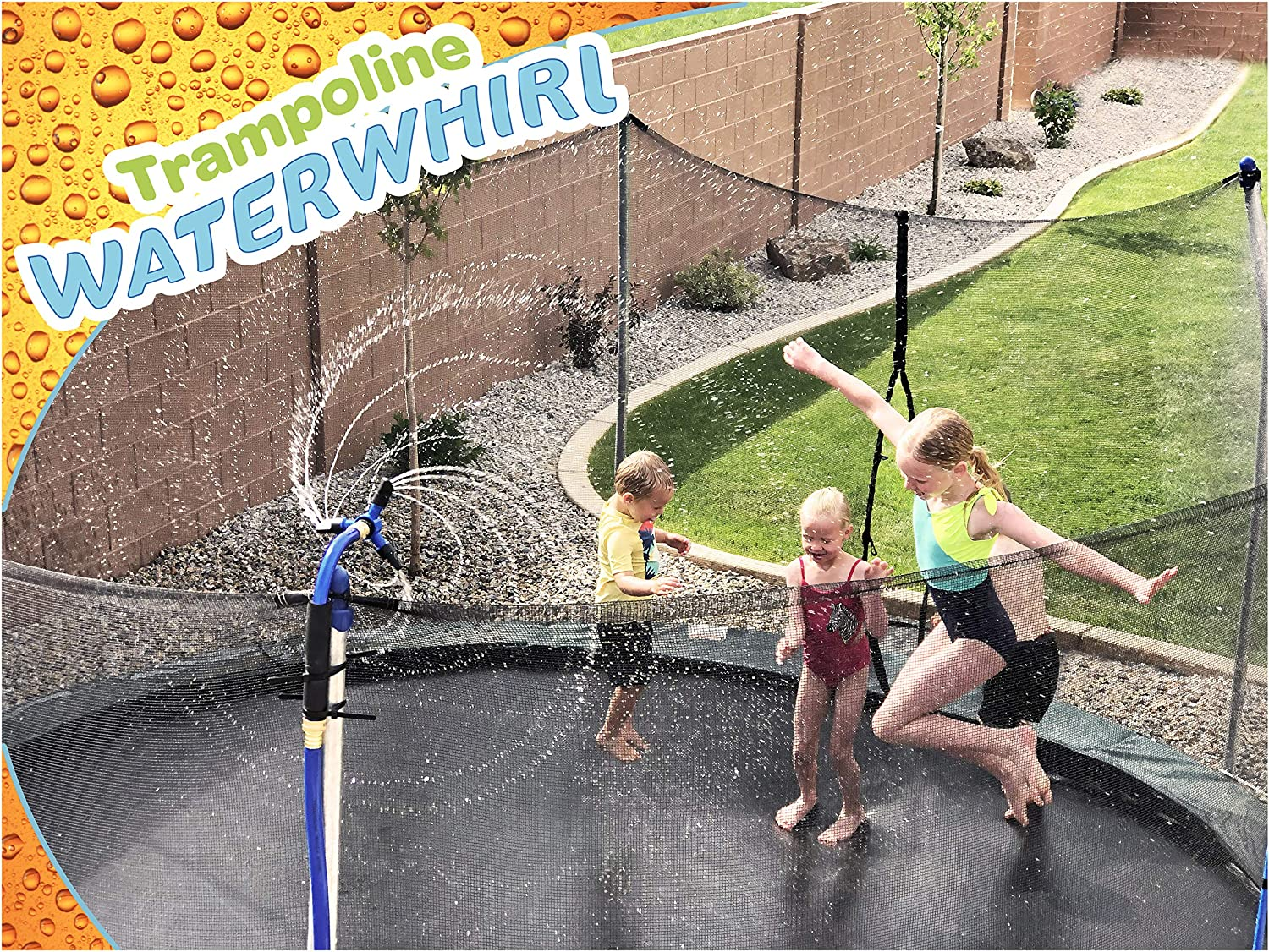 ThrillZoo Trampoline WaterWhirl - Kids Fun Summer Outdoor Water Park Game Sprinkler - Waterpark Toys for Boys Girls and Adults - Accessories Included - Toy Attaches on Safety Net Pole