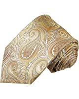 Cravate homme jaune marron paisley 100% soie