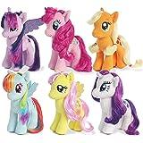 "My Little Pony Friendship Magic Collection: Rarity, Pinkie Pie, Applejack, Fluttershy, Rainbow Dash, Twilight Sparkle 6.5"" tall plush toys with sparkle hair 2015 version"