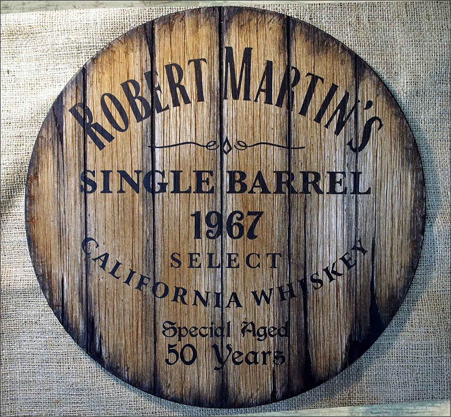 Custom rustic decor sign inspired by old whiskey barrel tops | Personalized Gift | Gifts for men, Husband, Dad, Groom, Best Man | Living room, Home Bar, Man Cave decoration