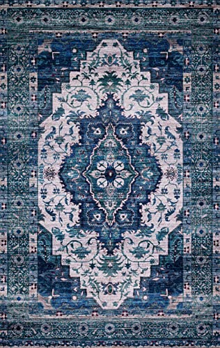 Loloi Rugs CIELCIE-01IVTQ5076 Cielo X Justina Blakeney Collection Area Rug, 5 x 7 6 , Ivory Turquoise