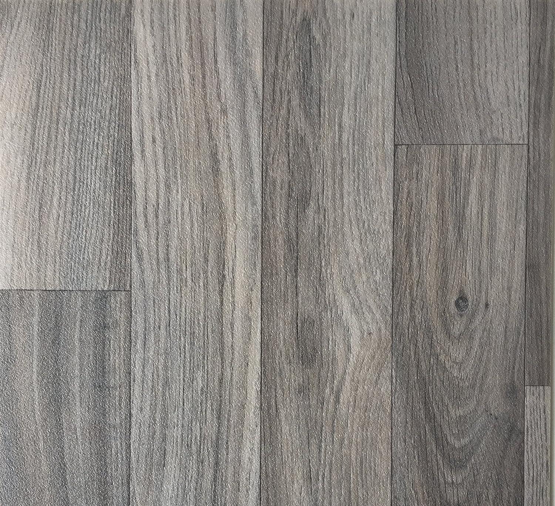 PVC-Belag verf/ügbar in der Breite 3 m /& in der L/änge 5,0 m CV-Boden wird in ben/ötigter Gr/ö/ße als Meterware geliefert PVC Vinyl-Bodenbelag Schiffsboden-Optik Grau rutschhemmend