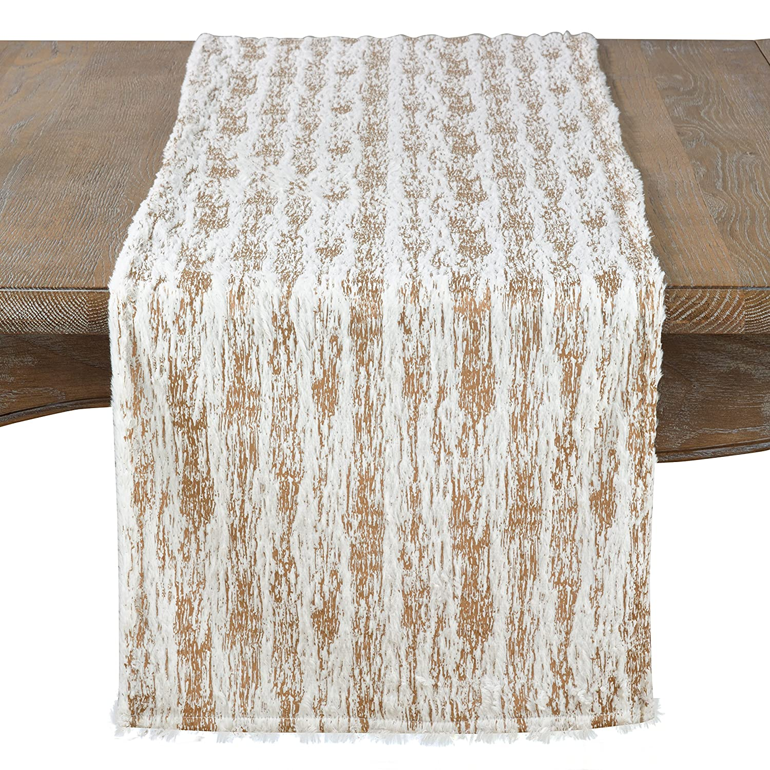 SARO LIFESTYLE Collection Faux Fur with Brushed Metallic Foil Print Runner, 16