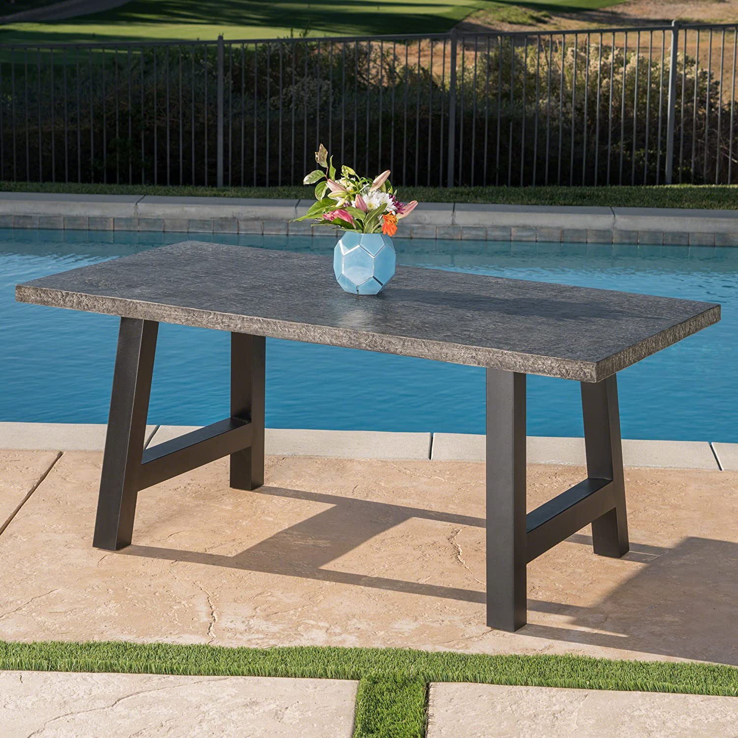 Christopher Knight Home 303926 Doris Outdoor Grey Stone Finish Light Weight Concrete Dining Table, Black