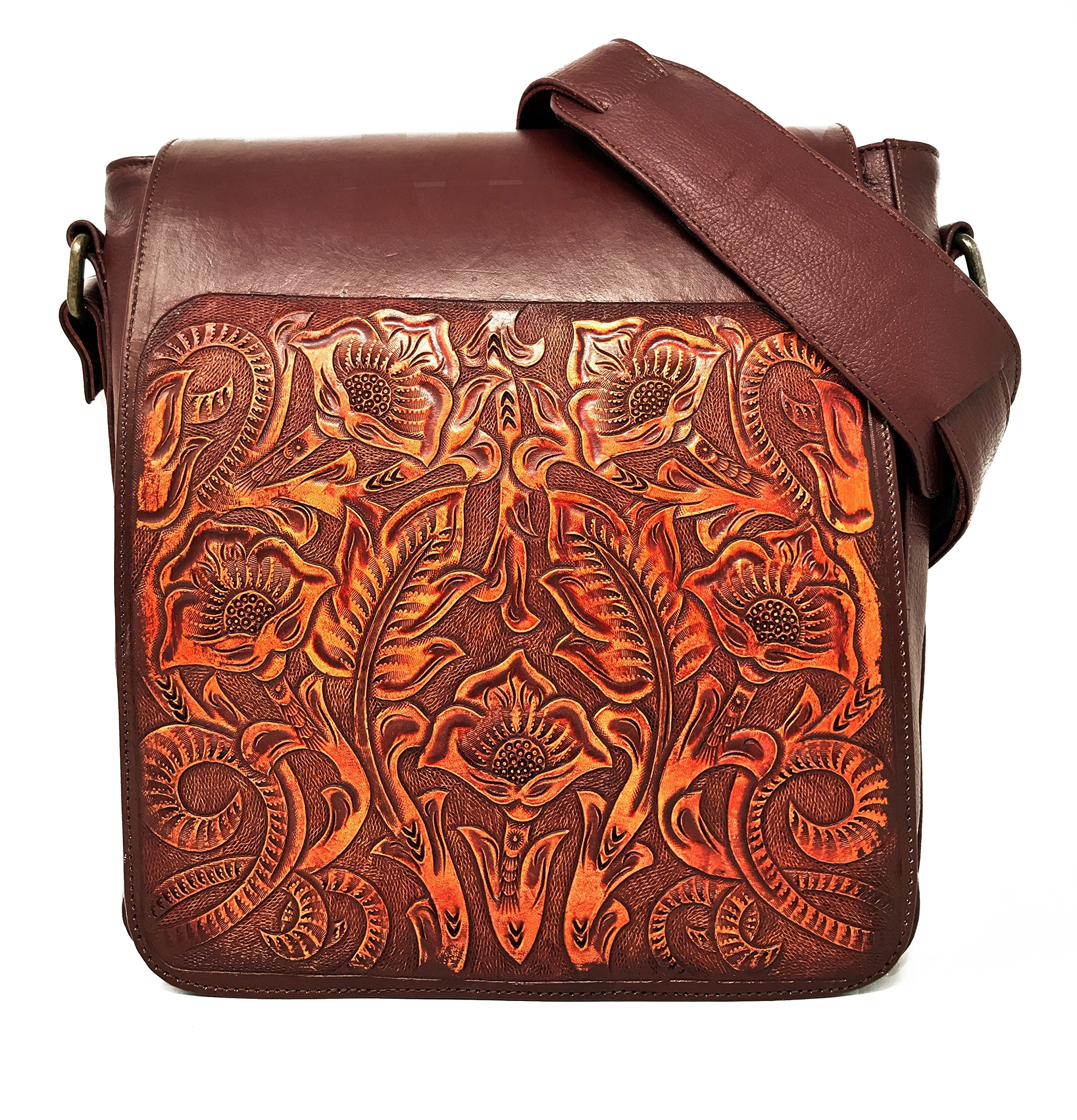 Juno Vintage Floral Artisan Leather Handmade Adjustable Messenger Cross Body Handbag Designer Gift for Women (Cocobolo) by Mauzari Sayulita