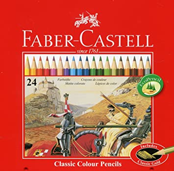 Faber Castell 115845 - Estuche de metal con 24 lápices de colores forma hexagonal, lápices escolares, multicolor