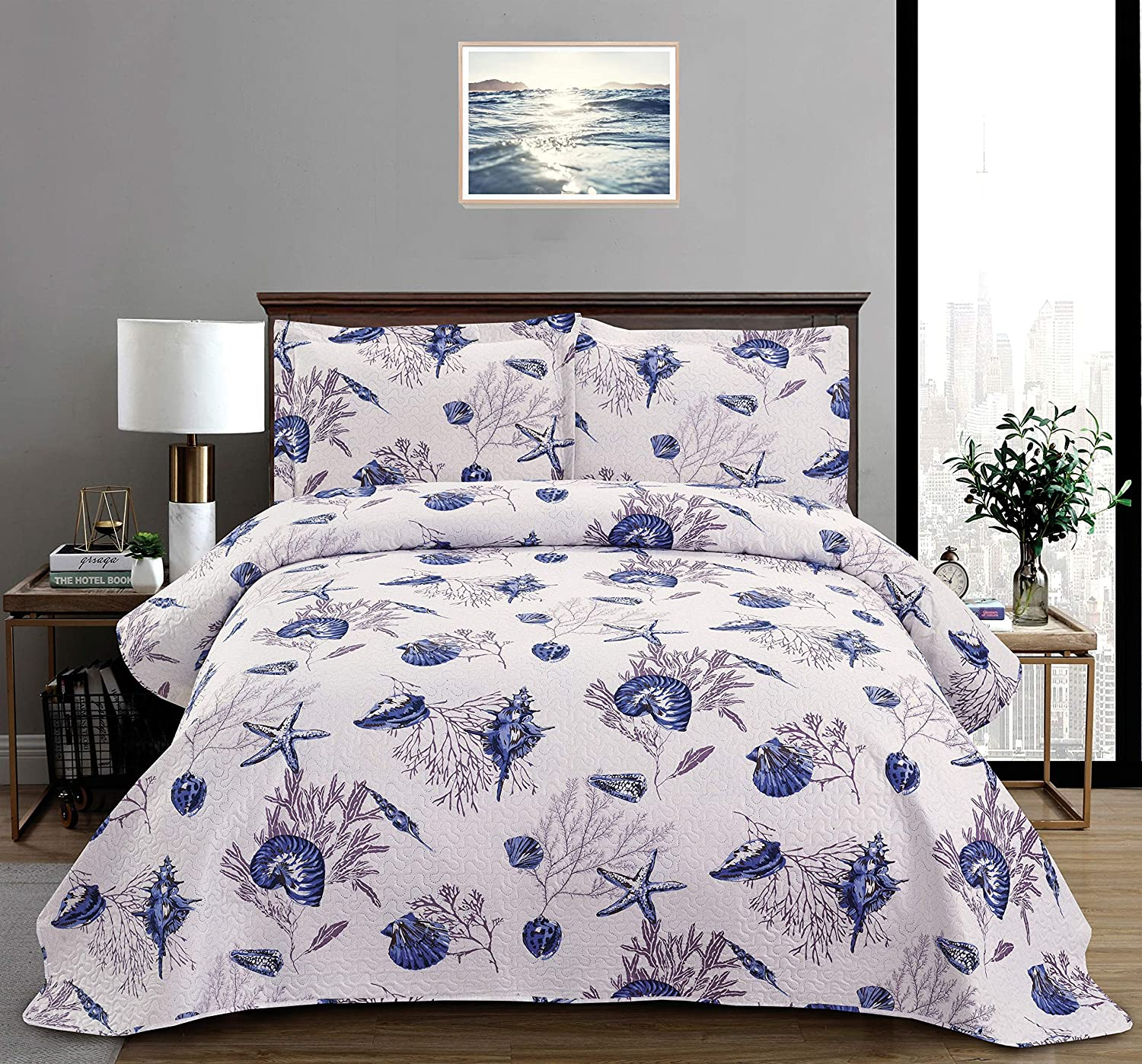 Amazon Com 3 Piece Ocean Themed Thin Quilt Set For Summer Twin With Shams Vivid Seascape Includes Blue Conch Starfish Coral Quilted Bedspread Lightweight Breathable Coverlet Bedding Bed Cover Lavender Home Kitchen