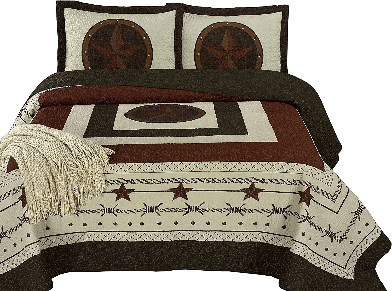 "Chezmoi Collection Tucson 3-Piece Western Star Cabin Lodge Design Soft-Washed Quilt Set Oversized 118"" x 106"" (King, Beige)"
