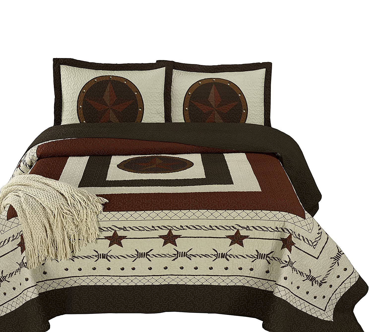 "Chezmoi Collection Tucson 3-Piece Western Star Cabin Lodge Design Soft-Washed Quilt Set Oversized 100"" x 106""(Queen, Beige)"