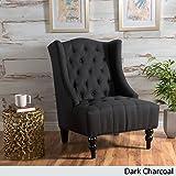 Clarice Dark Charcoal Fabric Wingback Club Chair