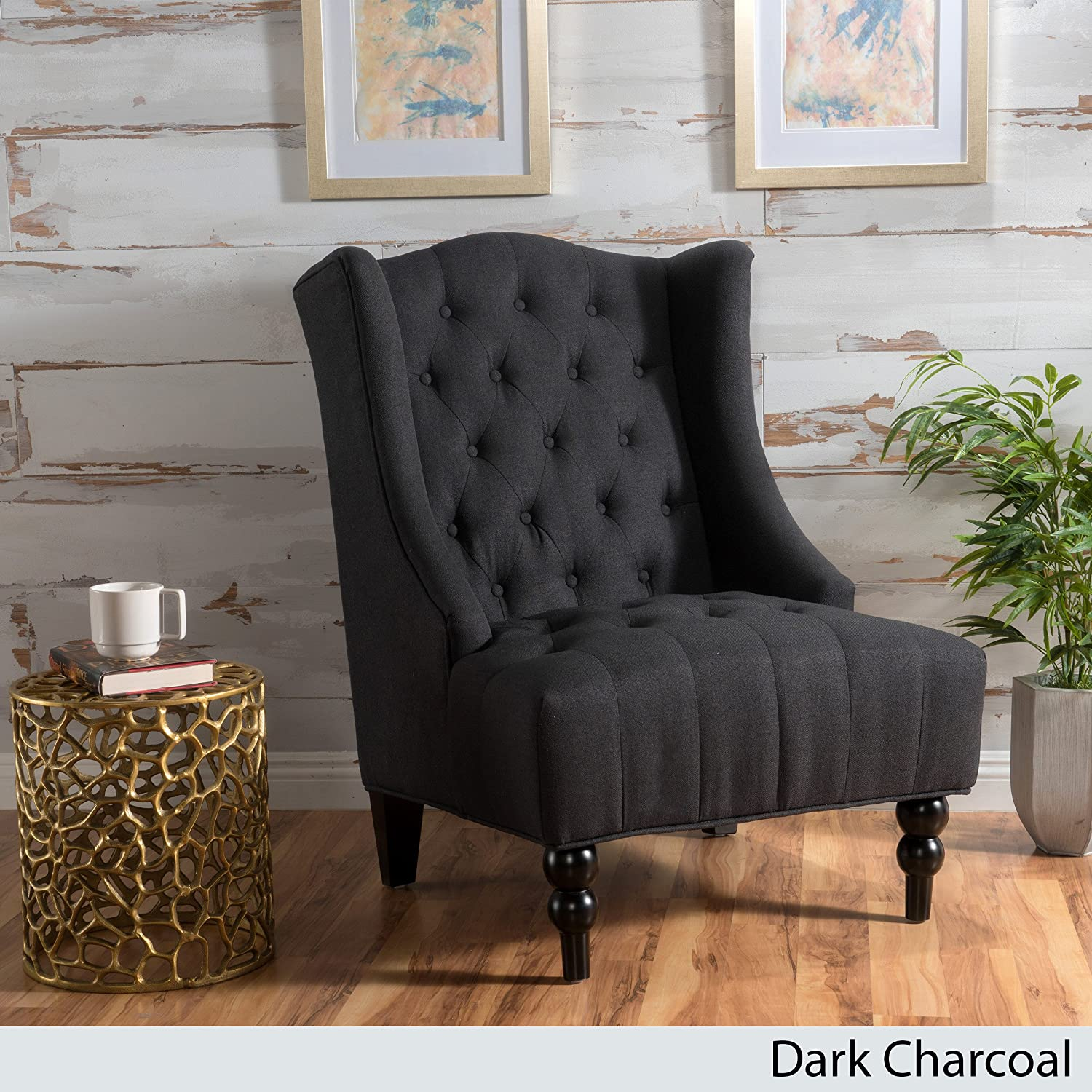 Clarice Dark Charcoal Fabric Wingback Club Chair