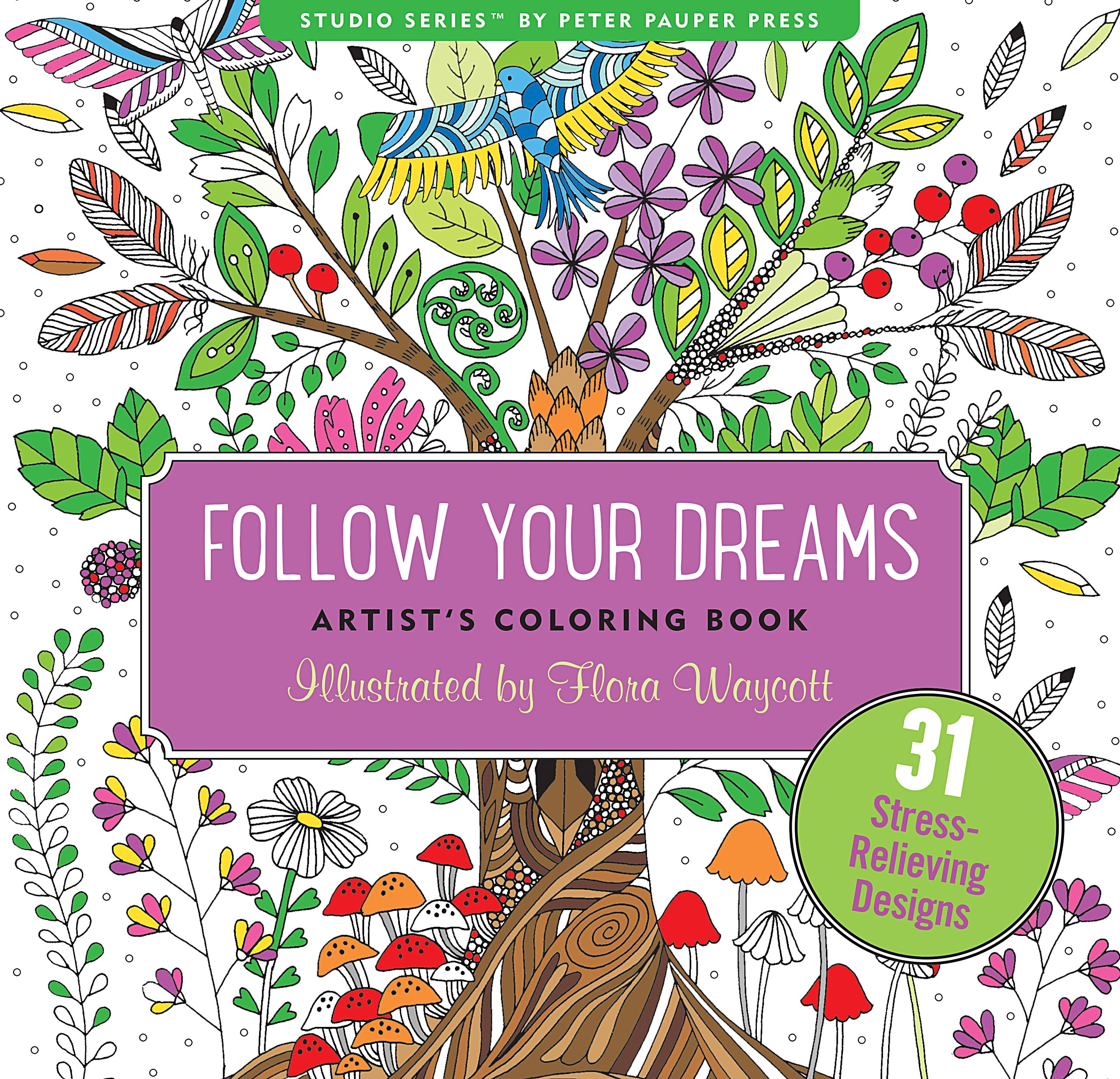 Follow Your Dreams Adult Coloring Book (31 stress-relieving designs ...