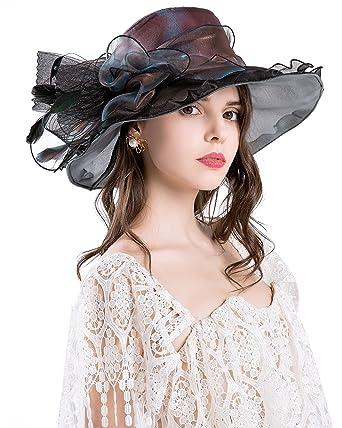 Derby Hats For Womens Vacation Organza Fascinator British Tea Party Wedding Dress  Cap Mysterious UPF 50 1bca07f732e