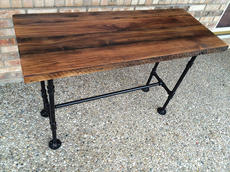 "B016COX8GK Reclaimed Wood Desk Table - Solid Oak W/ 28"" Black Iron Pipe legs. A1u-p4u2BFtL._SL1500_"