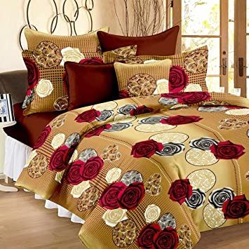 Story@Home 100% Cotton Bed Sheet for Double Bed with 2 Pillow Covers Set, Candy Queen Size Bedsheet Series, 120 TC, Vivid Roses Pattern, Cream