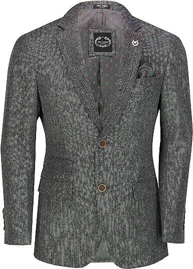 Xposed Chaqueta clásica gris de tweed Herringbone para hombre, estilo retro, informal, ajustada a la medida, color gris: Amazon.es: Ropa y accesorios