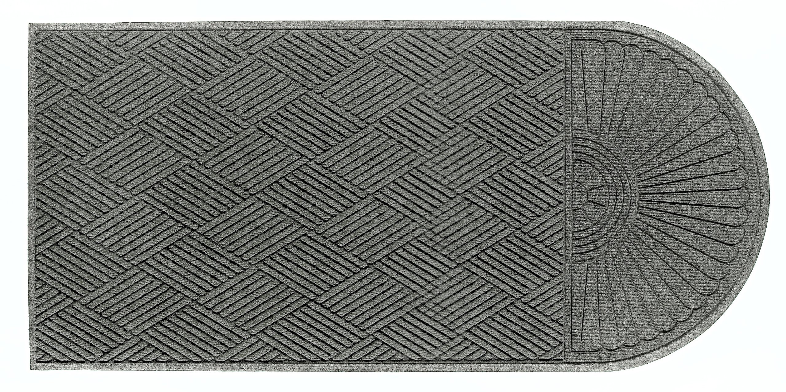 Andersen 273 Waterhog Grand Classic Polypropylene Fiber Single End Entrance Indoor/Outdoor Floor Mat, SBR Rubber Backing, 5.9' Length x 4' Width, 3/8'' Thick, Medium Grey