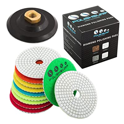 Diamond Polishing Pads 4 inch Wet/Dry Set of 11+1 Backer Pad for Granite Concrete Marble Polishing plus eBook - Polishing Process Best Practices by POLISHSURF: Home Improvement