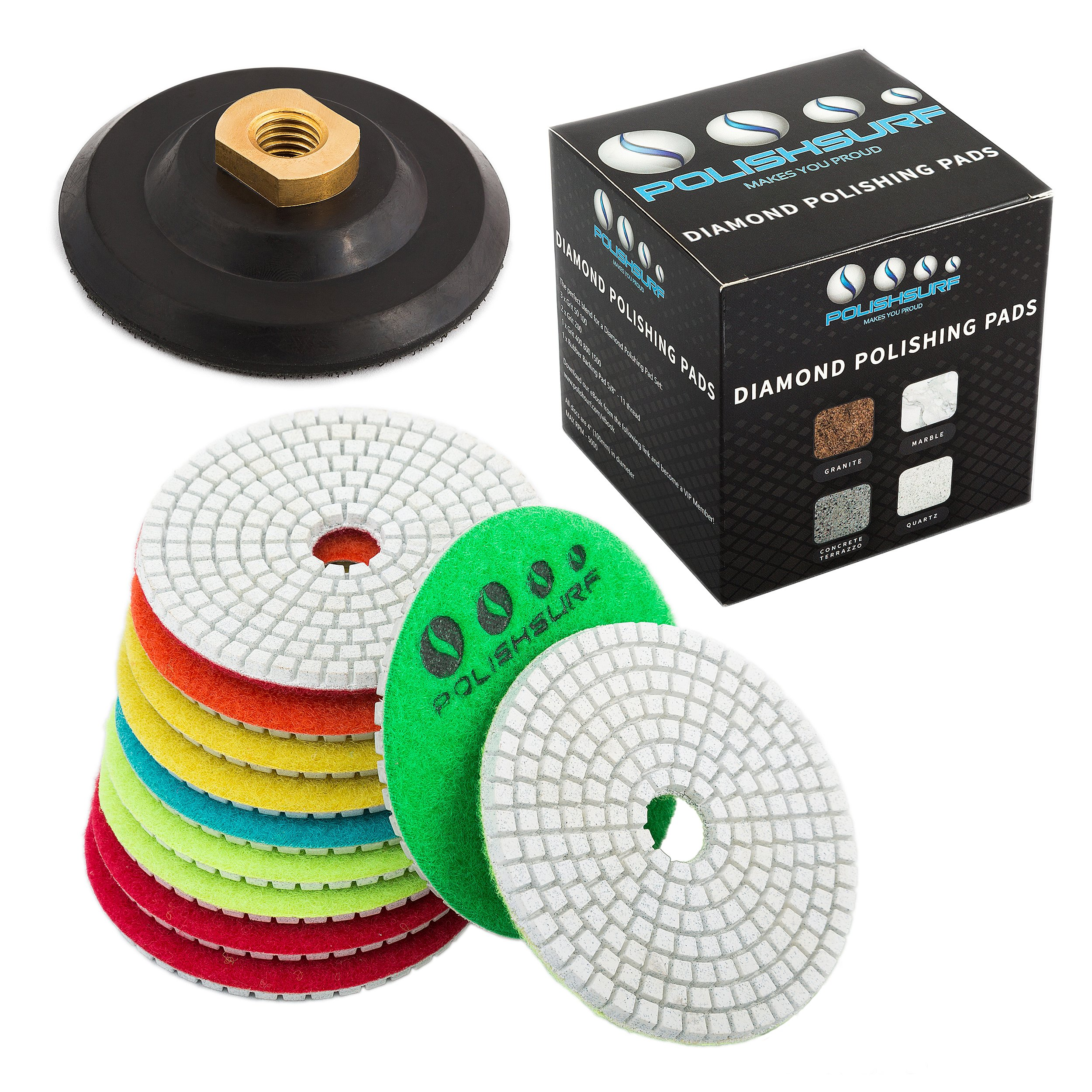 Diamond Polishing Pads 4 inch Wet/Dry Set of 11+1 Backer Pad for Granite Concrete Marble Polishing | Free eBook - Polishing Process Best Practices by POLISHSURF