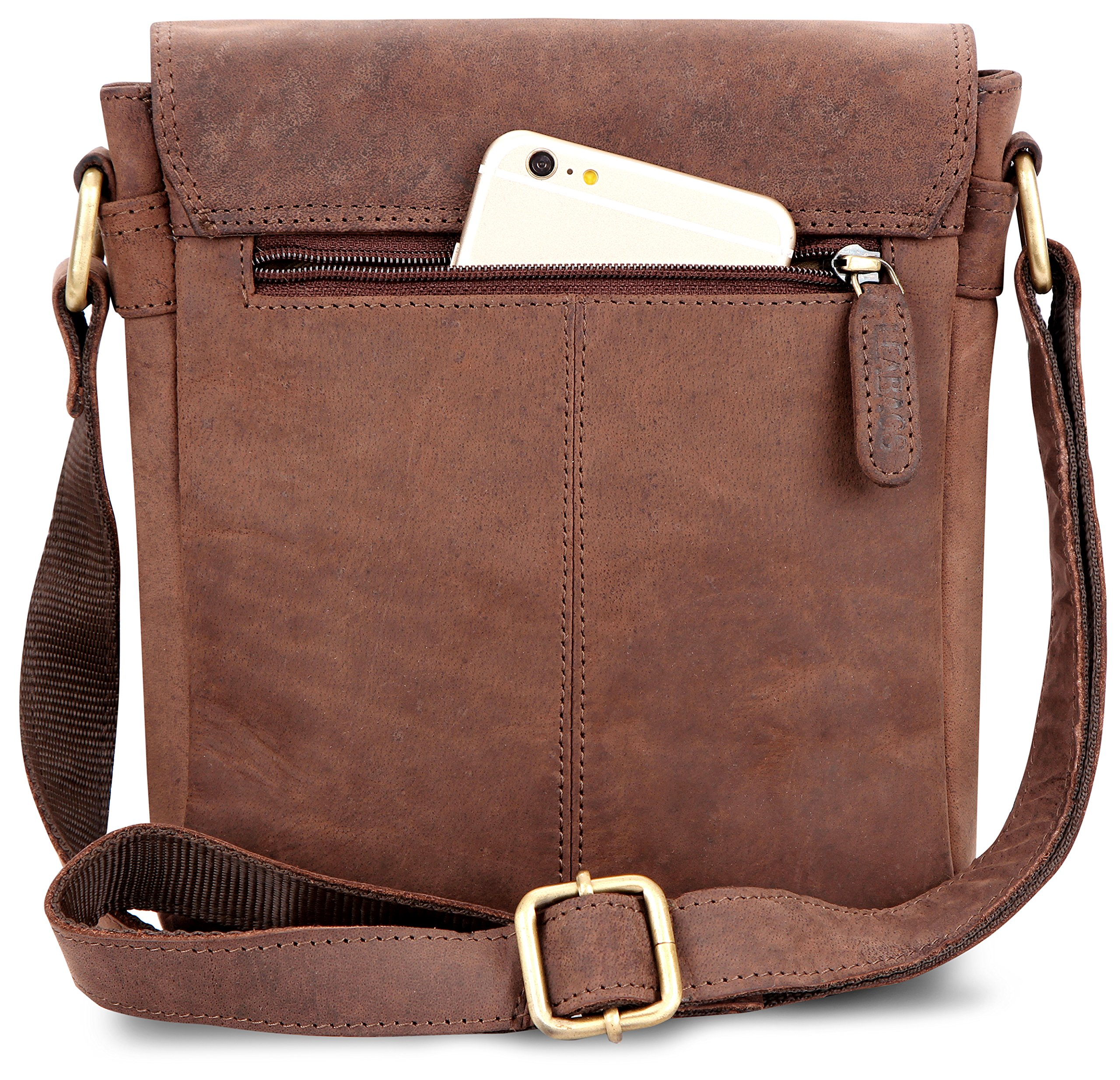 LEABAGS Weston genuine buffalo leather city bag in vintage style - Nutmeg by LEABAGS (Image #5)