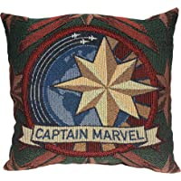 """Marvel Captain Marvel, """"Patch"""" Woven Tapestry Pillow, 20"""" x 18"""", Multi Color"""